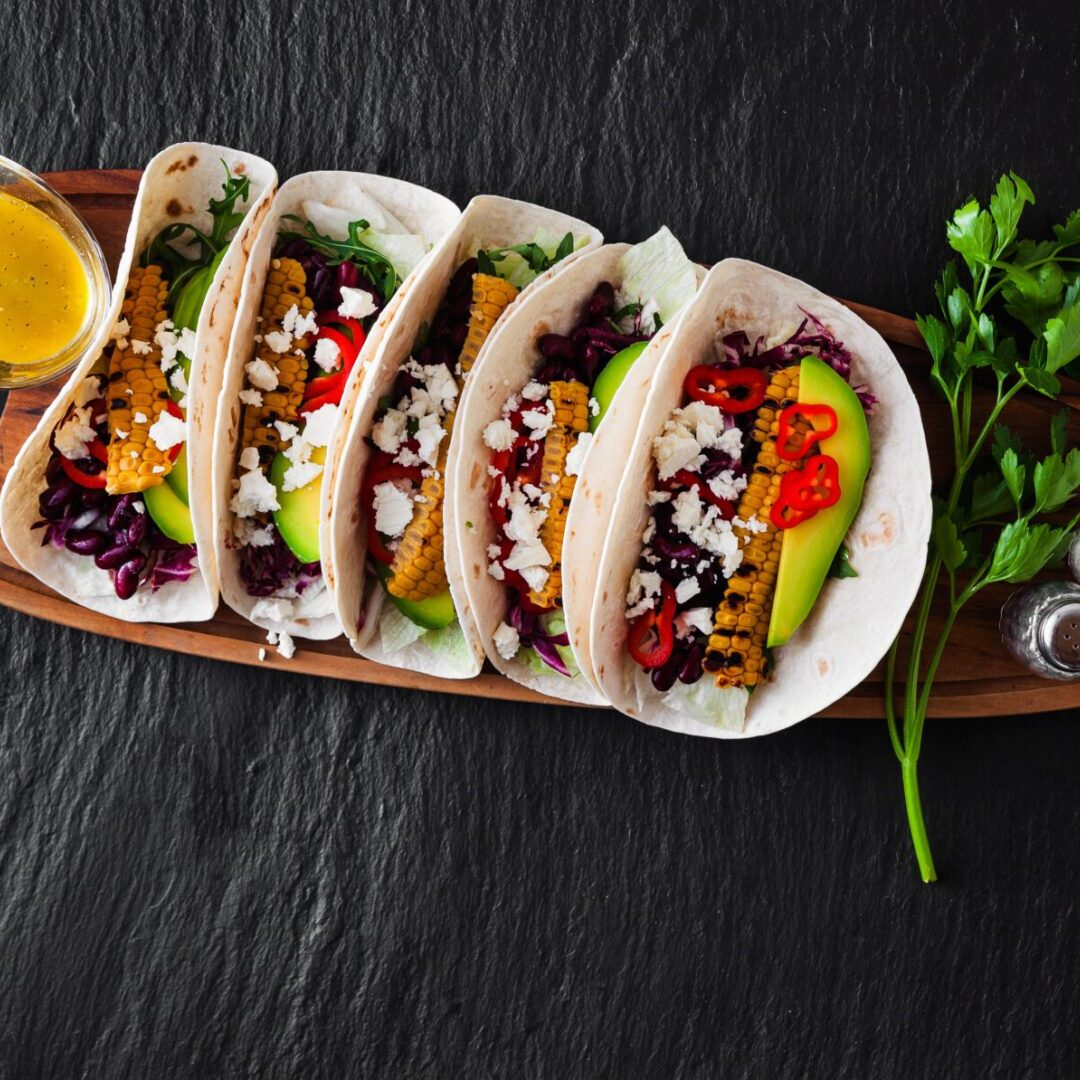 Mexican,Tacos,With,Avocado,,Grilled,Corn,,Red,Cabbage,Slaw,And